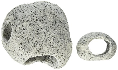 Penn Plax RR1074 Stone Replica Aquarium Decoration Realistic Granite Look with Fish Hideaway 2 Piece Set Size Small/Medium by Penn Plax