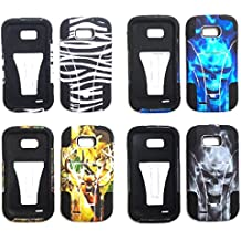 NP CITY Phone Cover T-STAND Case For ZTE Savvy Z750c / Awe N800 / Reef N810 (WHITE SKULL)