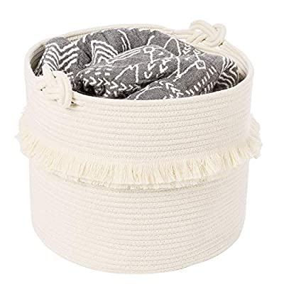 CherryNow Large Woven Storage Baskets – 16'' x 13'' Cotton Rope Decorative Hamper for Nursery, Toys, Blankets, and Laundry, Cute Tassel Nursery Decor - Home Storage Container - HIGH QUALITY: Our storage basket is made from strong cotton woven rope; organic cotton rope, no chemicals, has good resilience, safe and healthy; this elegant, stylish white material is attractive and durable LARGE SIZE: Our large rope basket is 13''tall x 16''diameter. It is lightweight, easy to move. Our coil rope basket can be easily folded for storage, another dimension offered is 7''tall x 9.5'' diameter. They also look great together as a set TASSEL DESIGN: Our hamper has two layers of tassels, which have great layering; teenage style fringe is suitable for girl's room, it is also a cute home décor for bedroom, living room & nursery - living-room-decor, living-room, baskets-storage - 51Vtdxj1gkL. SS400  -