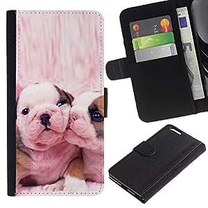 KLONGSHOP // Tirón de la caja Cartera de cuero con ranuras para tarjetas - Bulldog francés Perros lindos del rosa del amor - Apple Iphone 6 PLUS 5.5 //