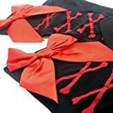 kilofly Black Thigh Highs Combo [Set of 2 Pairs] - Cross Net Back & Red Bowknots