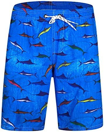 WWT Fishes Mens Adjustable Beach Board Short with Mesh Lining//Side Pockets