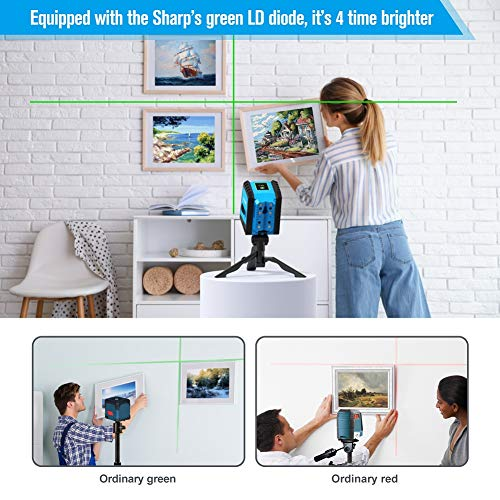 Laser Level, ACEGMET Self Leveling Laser Level, More Precision Green Laser Level, Laser Level Tool with Rotatable Folding Tripod/Magnetic Point/Rechargeable for Construction/Hanging Pictures
