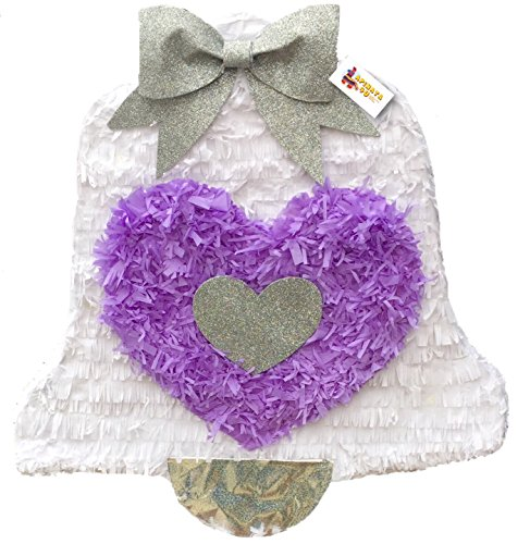 White & Lavender Wedding Bell Pinata 19