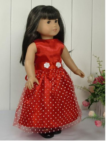 """Red with White Polka Dots Dress made for 18/"""" American Girl Doll Clothes"""