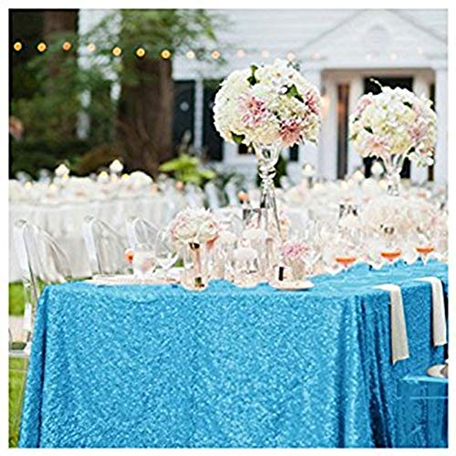 B-COOL 50X50 Inch Sequin Tablecloth Aqua Blue Glitter Table Overlays for Prom Birthday Party Table Fabric