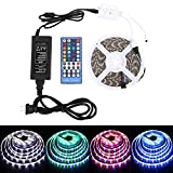 Waterproof RGBW LED Strip Lights DC 12 v led lights 5050 16.4FT(5M) 300LED With 40Keys IR Remote Controller and 5A Power Supply for Christmas Holiday Festival Party Home Garden Decoration(RGB White)