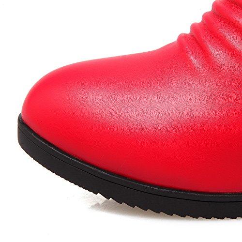 Allhqfashion Women's Zipper Round Closed Toe Kitten-Heels PU Low-top Boots Red Rym7Hk