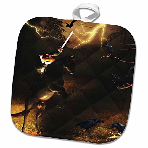 3dRose Renderly Yours Autumn and Halloween - Headless Horseman Rides in Sleepy Hollow - 8x8 Potholder -