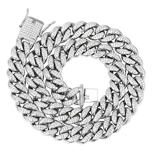 - PY Bling Mens Iced Out Hip Hop 12mm Miami Cuban Link Chain Choker 14K/18K Gold White Gold Plated CZ Lab Diamond Necklace/Bracelet 8