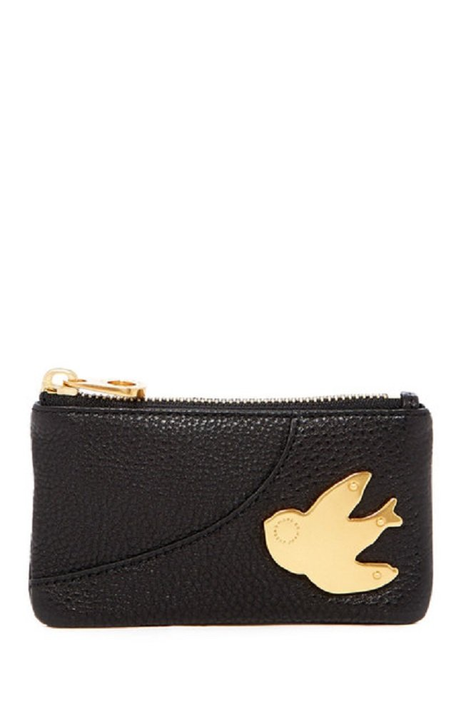 MARC BY MARC JACOBS Petal to the Metal Pebbled Leather Key Pouch (One Size, Black (001) / Gold)