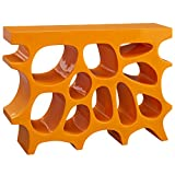 Modern Contemporary Urban Living Lounge Sidebaord Rack Stand Console Entry Table, Orange, Plastic