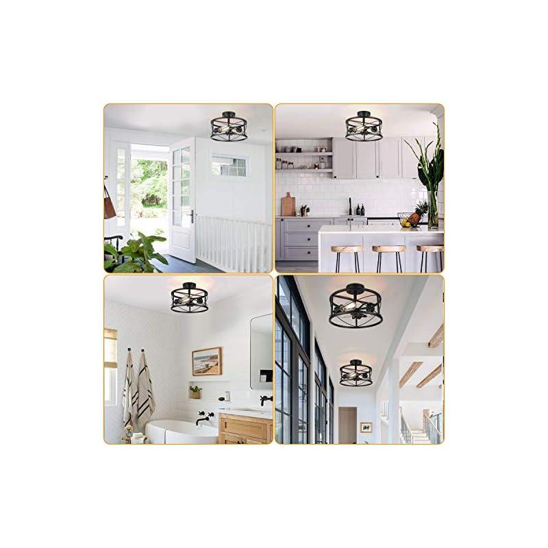 Industrial 3-Light Semi Flush Mount Ceiling Light, Modern Farmhouse Lighting Fixture with Metal Cage, Black Vintage…