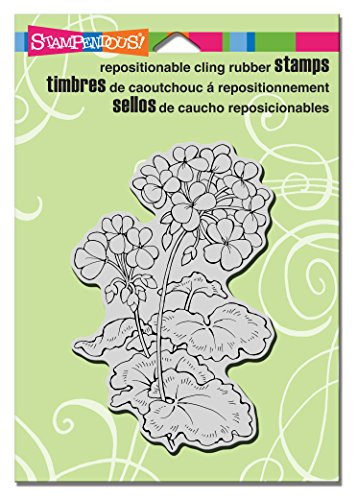 STAMPENDOUS CRP296 Geraniums Cling Rubber Stamp -