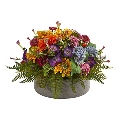 Nearly Natural 1626 Mixed Floral Artificial Arrangement in Stone Planter Silk, Assorted