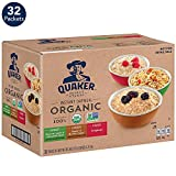 Quaker Organic Instant Oatmeal, 3 Flavor Variety Pack (32 Packets)