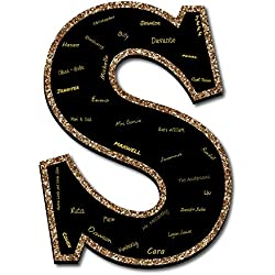 """Big Dot of Happiness Signature Letter S - Guest Book Sign Letter - 21"""" Foam Board Party Guestbook Alternative   Black with Gold Monogram Letter (S)"""