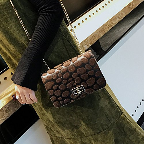 Bolsos De Mano Moda Bandolera Costura Cadena Bolsa Cuadrada Pequeña Messenger Mujer Bolsa De Cerradura BrownDiamonds