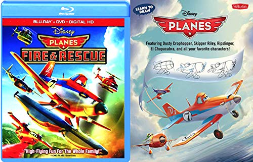 Dusty Skipper Ripslinger High Flying Fun Disney Cartoon Movie Planes Fire & Rescue DVD Blu Ray Animated Feature + Learn How to Draw Book Planes Soaring Set Family Bundle]()