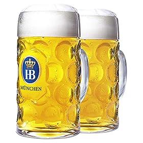 "1 Liter HB""Hofbrauhaus Munchen"" Dimpled Glass Beer Stein, 2pk"