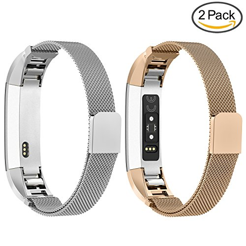GreenInsync Compatible Fitbit Alta Bands Milanese, for Fitbit Alta HR Stainless Steel Replacement Accessories Band Small Large for Fitbit Alta Wristband W/Loop and Magnet Lock Women Men Girls Boys