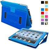 Snugg iPad 2 Case - Smart Cover with Kick Stand & Lifetime Guarantee (Electric Blue Leather) for Apple iPad 2