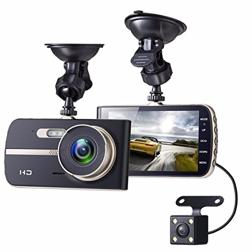 Dash Cam, EIVOTOR 1080P HD Dual Channel Dashboard Cameras Front and Rear, Driving Video Recorder with 4.0'' IPS Screen, Built In G-Sensor, Motion Detection, Loop (4 Channel Lcd Dvr)