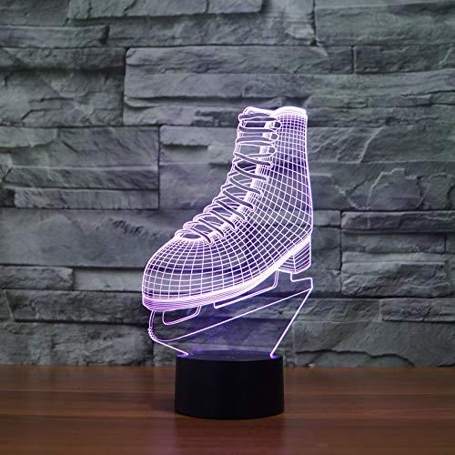 Night Light 3Dcreative Sport Hockey Su Ghiaccio Stivali Da Pattinaggio Visual Night Light Pattinaggio Sul Ghiaccio Pattini A Rotelle Design Lamp Colorful Bedroom Lighting