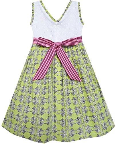 Filles Robe Arc Taille De Coton Princesse Imprimé Cygne Cravate Verte 4-10 Ans Vert