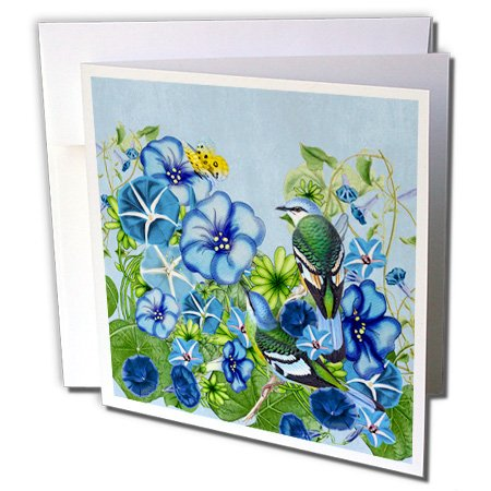 3dRose Morning Glory Garden September Birth Flower with Birds - Greeting Cards, 6 x 6 inches, set of 6