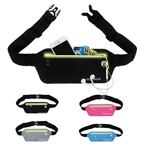 ee Running Belt Waist Pack Women Men, Reflective Sports Runnning Pouch Phone Holders Adjustable Belt Elastic Waist Bag Running, Jogging,Fitness, Black ()