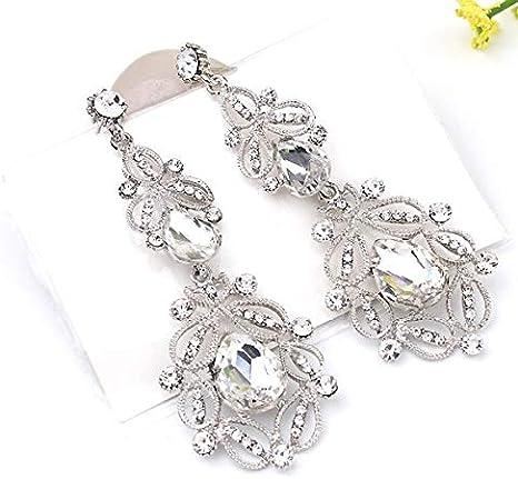 Pendientes de aleación de moda Elegante zafiro Moda Metal Pendientes de lujo Banquete de fiesta Compromiso de boda Pendientes de cristal de diamantes de imitación