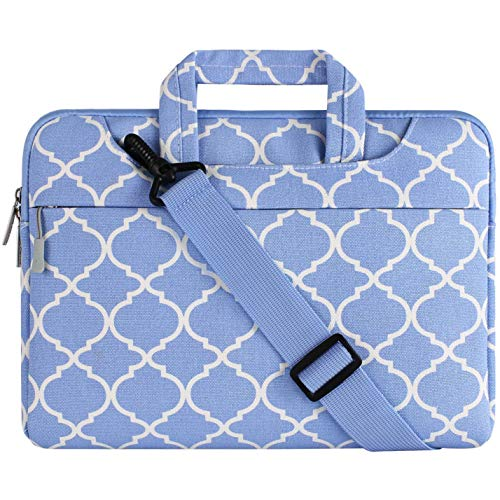 MOSISO Laptop Shoulder Bag Compatible 13-13.3 Inch MacBook Pro, MacBook Air, Notebook, Canvas Geometric Pattern Protective Carrying Handbag Briefcase Sleeve Case Cover, Serenity Blue Quatrefoil