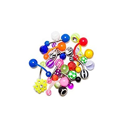 Bodyjewelryonline 20 Mixed Acrylic Belly Navel Rings Cute And Playful Designs 316l Surgical Steel And Bioflex Shafts