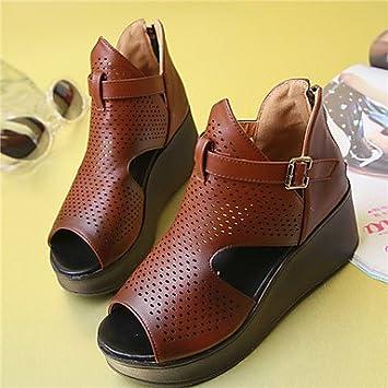 TYHQ Zapatos de mujer Semicuero Tacón Cuña Punta Abierta/Botines Botas Boda/Exterior/