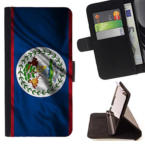 (FJCases Belize Belizean Waving Flag Slim Wallet Card Holder Flip Leather Case Cover for Apple iPod Touch)