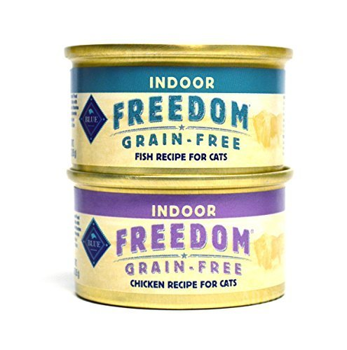Blue Buffalo Freedom Grain Free Indoor Cat Food Variety Pack Box - 2 Flavors (Chicken Recipe & Fish Recipe) - 3 Ounces Each (12 Total Cans - 6 of Each Flavor)