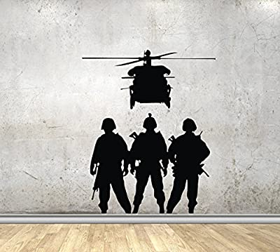 Wall Decals Military Army Silhouette Veteran Soldiers Helicopter Decor Stickers Vinyl MK1705