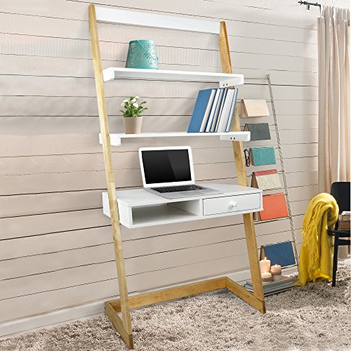 Ladder Bookcase Desk (American Trails 317-920 Freestanding Ladder Desk with Drawer, Natural Maple/White)