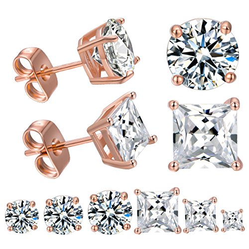 DwearBeauty Rose Gold Plated Cubic Zirconia Stud Earrings 6-Pairs Pack