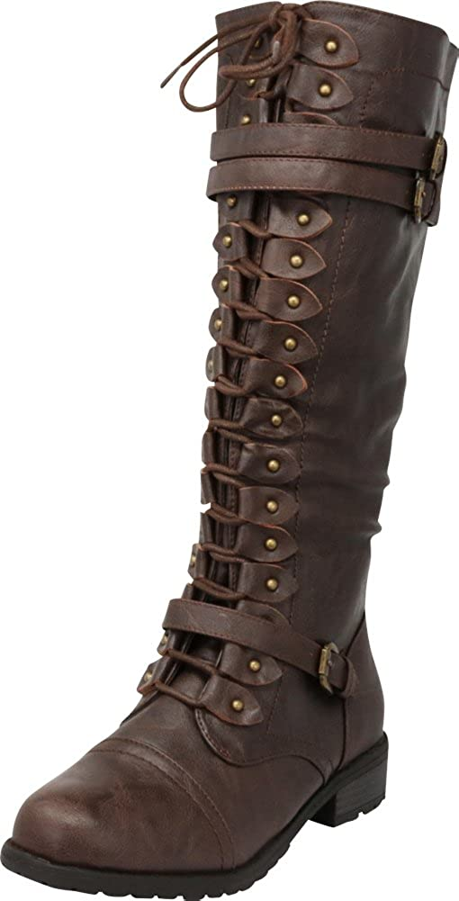 Brown Pu Cambridge Select Women's Lace-Up Strappy Knee High Combat Stacked Heel Boot