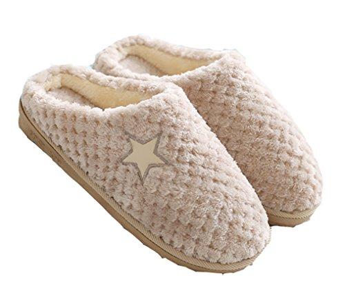 Dsmor Mens Stella Modello Casa Pantofole Pantofole Pavimento Al Coperto Scarpe Invernali Kaki