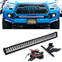 "iJDMTOY 30-31"" 180W High Power Double-Row LED Light Bar w/ Lower Bumper Grille Mounting Brackets and On/Off Switch Wiring Kit For 2016-up Toyota Tacoma"