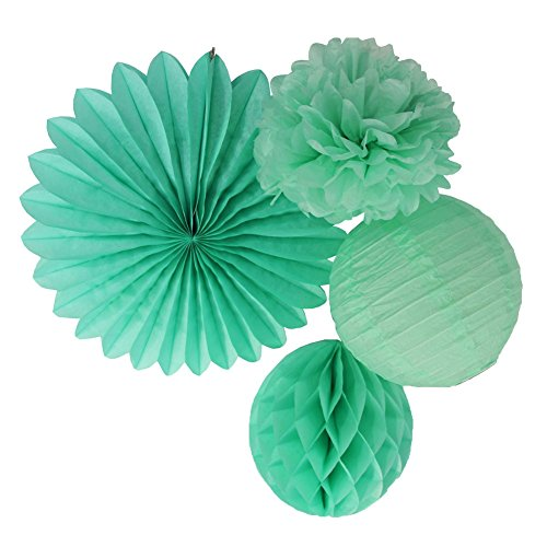 Making Paper Lanterns (SUNBEAUTY Mint Green Tissue Paper Pom Poms Paper Fan Mint Paper Honeycomb Ball Paper Lanterns Pack of 4)