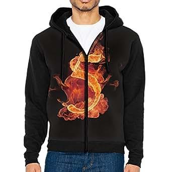 Men's Full Zip Hoodie Fire Flames 5 Hooded Sweatshirt