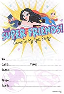 Dc Superhero Girls Birthday Party Invites Landscape Frame Design