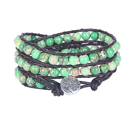 Bonnie Tree of Life Bracelet For Women Imperial Jasper Bead Leather Wrap - Agate Green Tree Beads