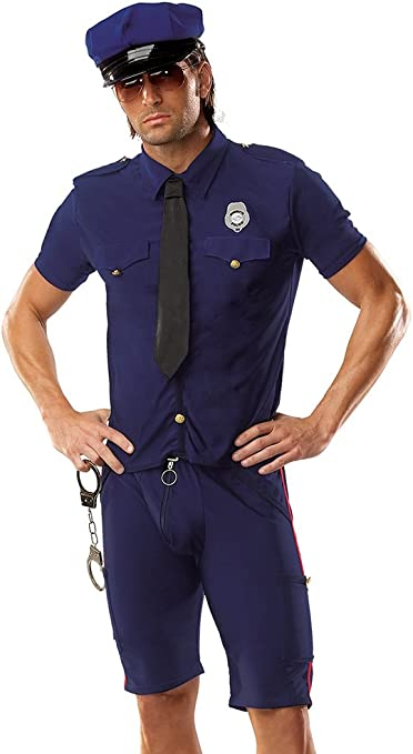 Boys Muscle Chest Policeman Uniform Book Day Week Fancy Dress Costume Outfit
