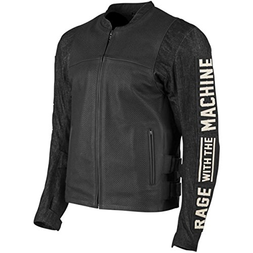 Speed and Strength Rage with the Machine Leather and Denim Men's Street Motorcycle Jacket - Black / X-Large