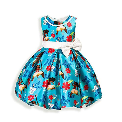(AOVCLKID Moana Girls Cotton Printed Dress Princess Cartoon Party Dress)